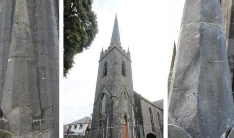 Cut stone repairs at Gort Library, (former Church of Ireland)